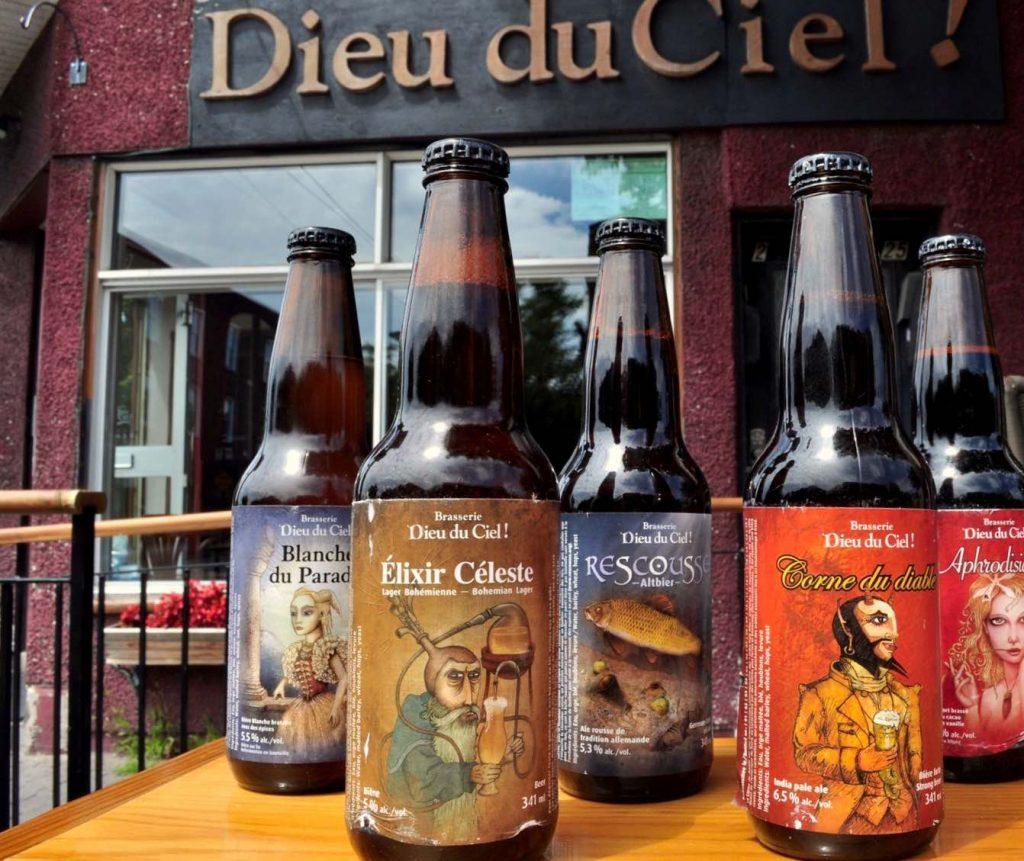 bottled beers in front of dieu du ciel brewpub - best brewpubs in montreal